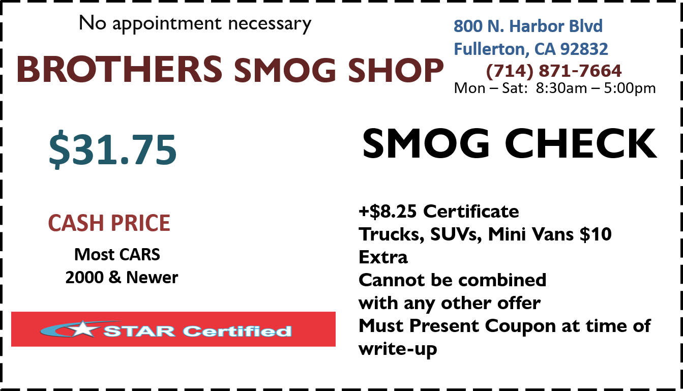 Smog Check Discount Coupon